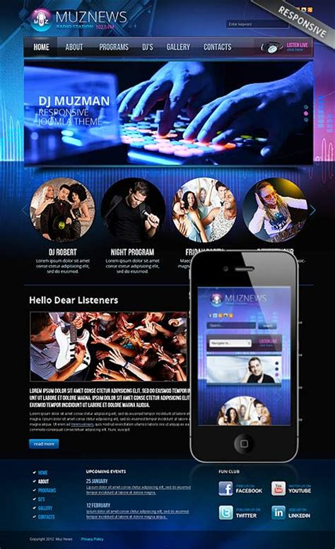Radio Station V3 0 Joomla Template Html5 Web Templates 300111571 Radio Station Marketing Plan Template