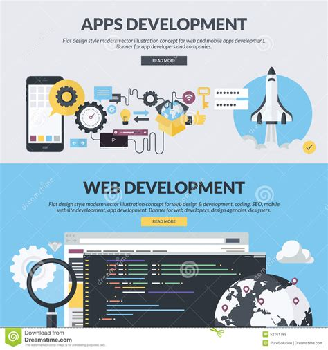 application design concepts for industrial applications set of flat design style banners for web and app