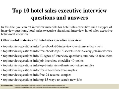top 10 hotel sales executive questions and answers