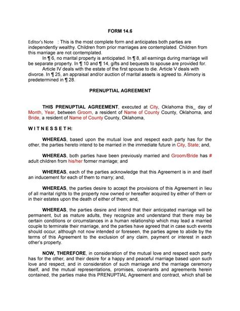 prenuptial agreements templates 30 prenuptial agreement sles forms template lab