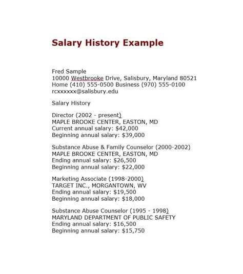 how to put salary history on resume 19 great salary history templates sles template lab