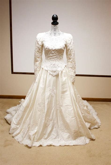 vintage beaded lace bridal gown silk dupioni wedding dress