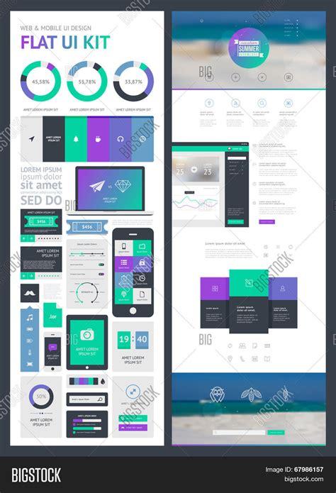 create page template flat ui kit web mobile ui design vector photo bigstock