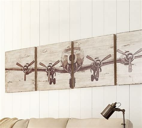 Distressed Home Decor planked airplane panels set pottery barn
