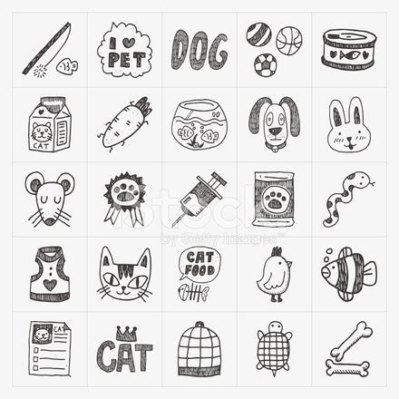 Doodle Pet Icons Set Stock Vector Freeimages
