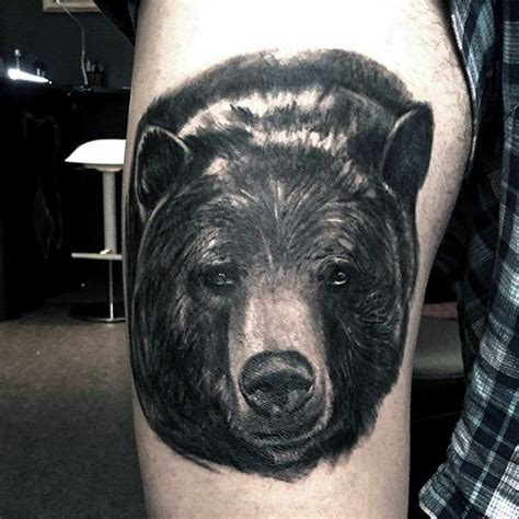 black bear tattoo 70 thigh tattoos for manly ink designs