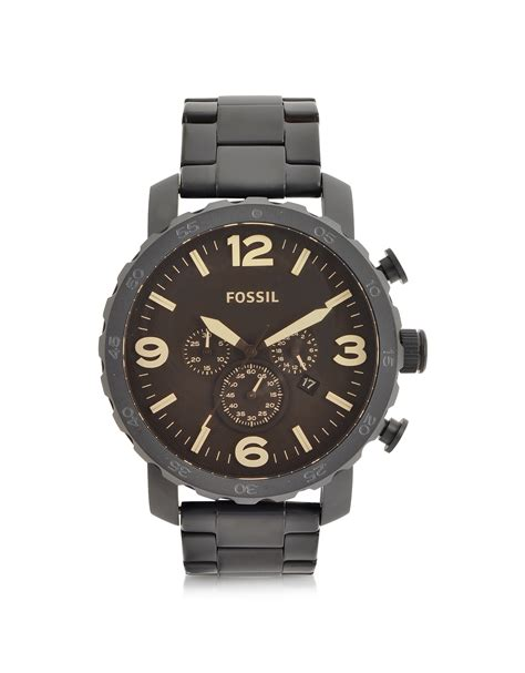 Fossil Chrono Black lyst fossil nate black stainless steel chronograph