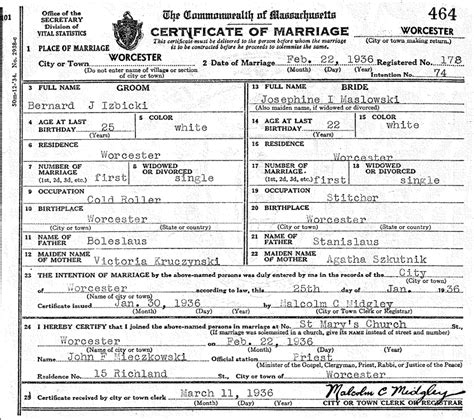 Worcester Marriage Records The Marriage Of Bernard J Izbicki And Josephine I Maslowski Steve S Genealogy