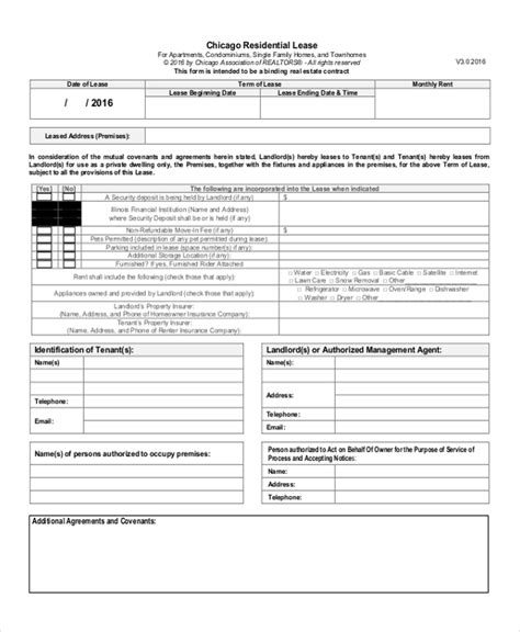 Chicago Residential Lease Template Sle Lease Renewal Forms 10 Free Documents In Pdf Doc