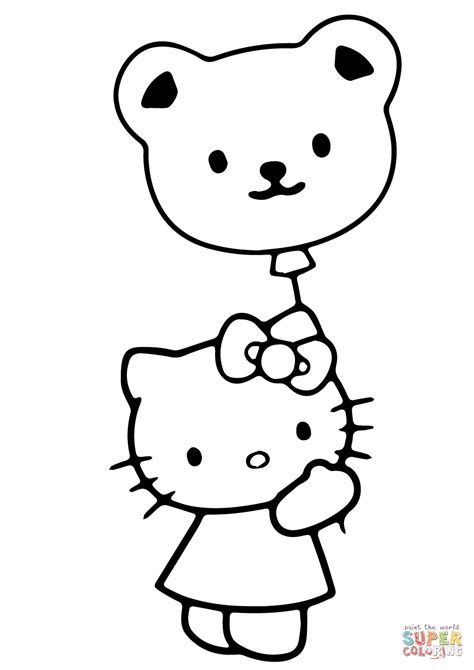 hello kitty balloons coloring pages valentines day coloring sheets free page hello kitty