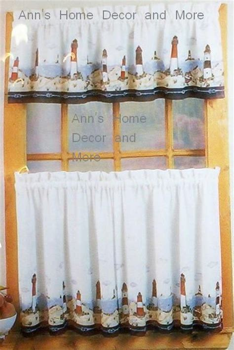 lighthouse kitchen curtains anns home decor and more lighthouse ocean 24l tier