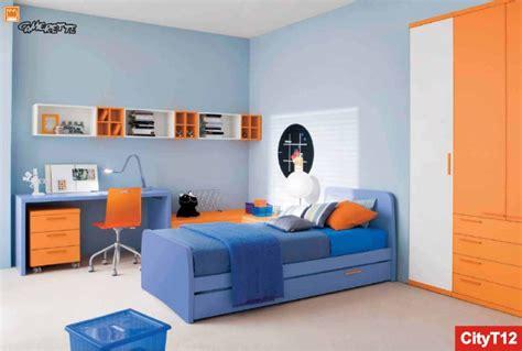 letti estraibili per bambini i nidi letto attrezzato e armadio arancione