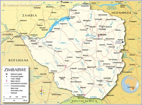 administrative map  zimbabwe nations  project