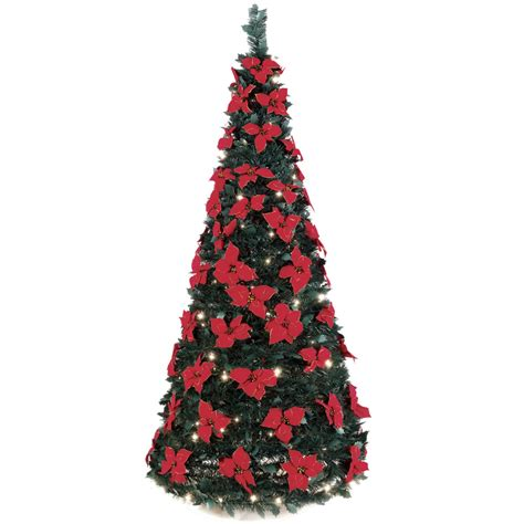 pop up xmas tree with decorations the 6 pop up poinsettia tree hammacher schlemmer