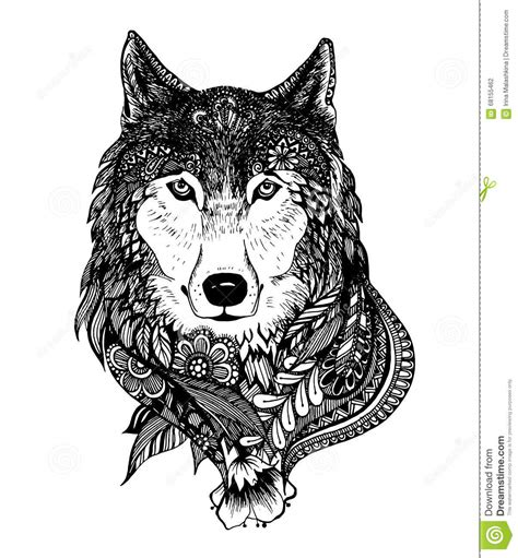 abstract wolf coloring pages hand drawn abstract wolf vector illustration stock vector