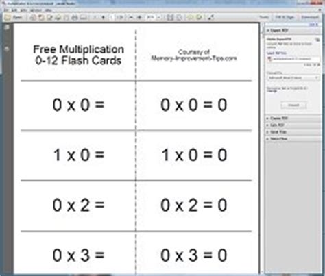 multiplication flash card template free printable math flash cards