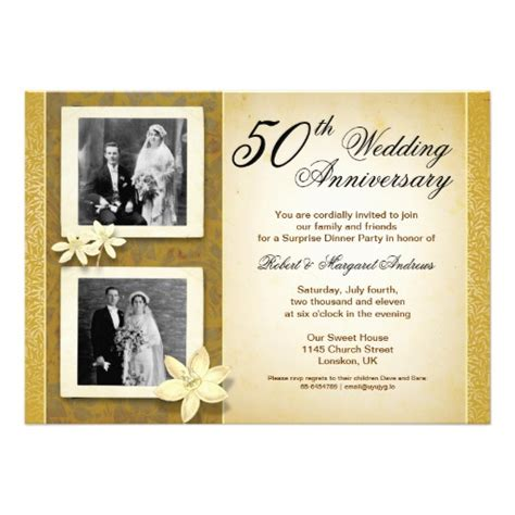 cheap 50th wedding anniversary invitations two photos wedding anniversary invitations zazzle