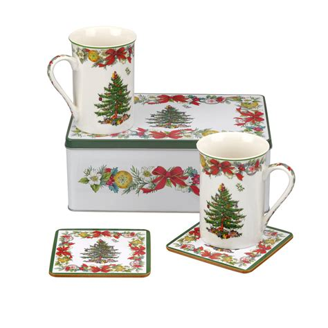 spode christmas tree 5 piece tin set 2 mugs 2 coasters