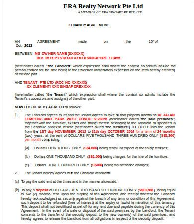 tenancy agreement template 16 free word pdf documents