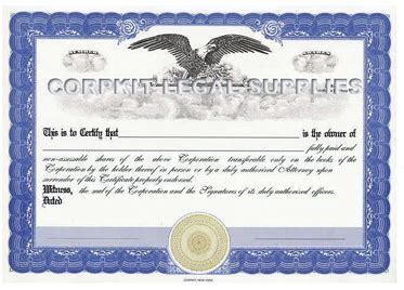 stock certificate template  printable documents