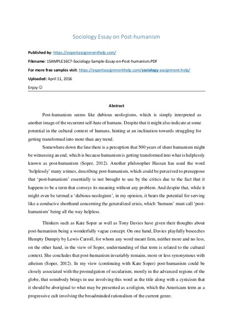 critical analysis sociology critical analysis essay on post humanism