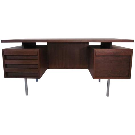 mid century walnut floating top desk with back side
