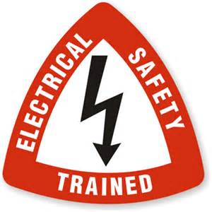 electrical safety trained hard hat decal triangle shaped