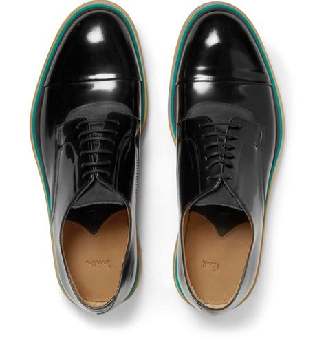 Fashion Shoe 113 3 paul smith rubber soled polished leather and suede derby shoes s shoes moda
