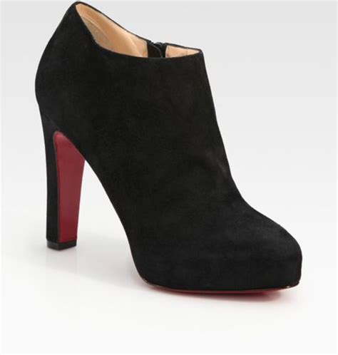 christian louboutin suede platform ankle boots in