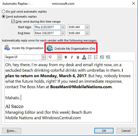 Out Of Office Message by How To Master Outlook S Out Of Office Automatic Replies