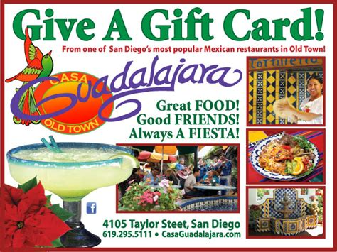 San Diego Restaurants Gift Card - san diego mexican restaurants the casa guadalajara blog