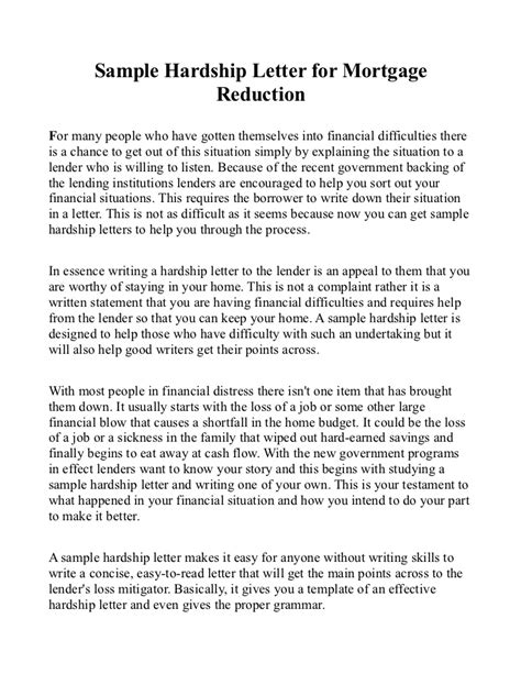 Hardship Letter To Mortgage Lender Sle Hardship Letter For Mortgage Reduction