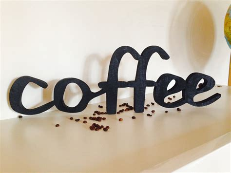 wood sign home decor wood word coffee wooden sign script