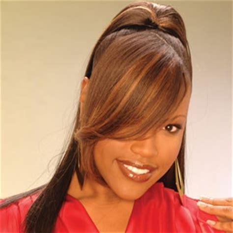 black hair swoop bangs weave ponytail with swoop bangs long hairstyles