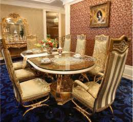 luxury baroque design golden brass dining table