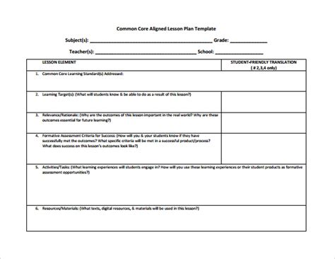 lesson plan template with common standards common lesson plan template 6 documents