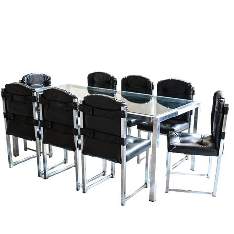 Chrome Dining Table And Chairs Vintage Chrome Glass Dining Table And Chairs By Virtue Brothers For Sale At 1stdibs