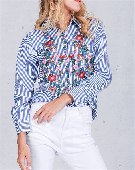 Sleeve Embroidered Shirt floral embroidered shirts sleeve striped blouse