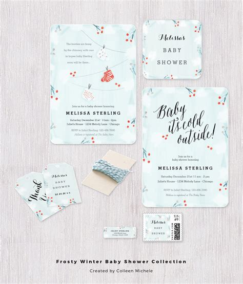 Baby It S Cold Outside Free Templates For Your Own Baby Shower Perfect Postage Winter Baby Shower Templates