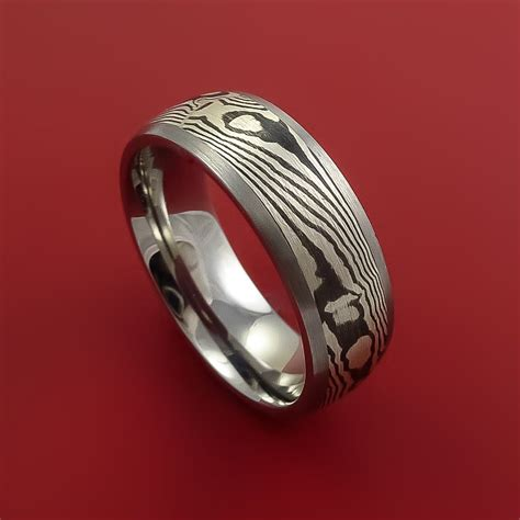Anting Ring Titanium Silver 1 titanium and sterling silver mokume ring custom made to any size stonebrook jewelry