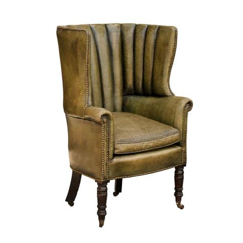 Wingback Chair Upholstery by 1870 Library Barrel Wingback Chair In Green