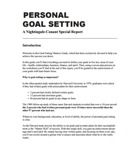 personal goals and objectives template goal setting template 12 free documents in pdf