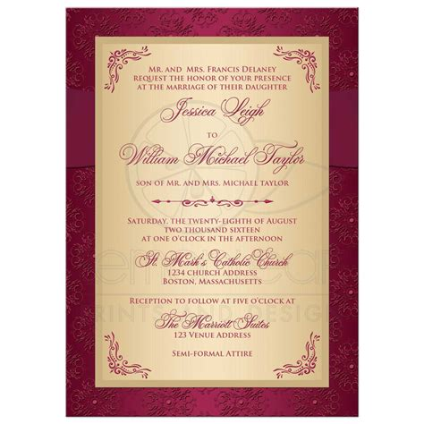 wedding invitations burgundy and gold wedding invitation burgundy gold damask printed ribbon joined hearts