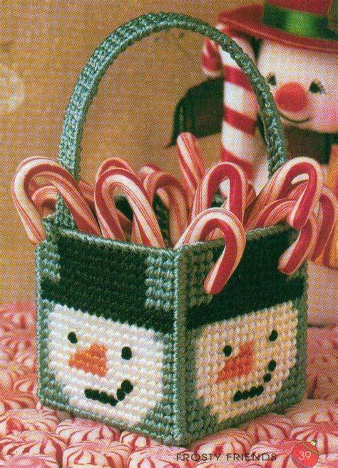 mini frosty basket snowman christmas plastic canvas