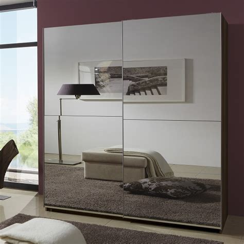 Large Mirrored Wardrobe Quest Mirrored Sliding Wardrobe Large In Walnut With 2