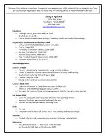 Resume Template For College Application by College Application Resume Template Health Symptoms And
