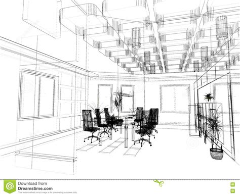 the modern office sketch stock photo image of interior 3564914