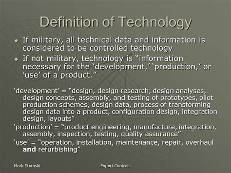 design technology definition export controls in a university environment ppt video