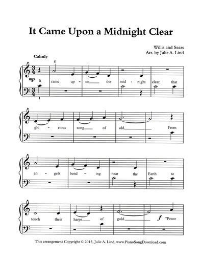 printable lyrics it came upon a midnight clear 58 best images about christmas piano sheet music printable