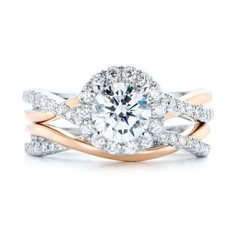 two tone halo criss cross engagement ring 102678